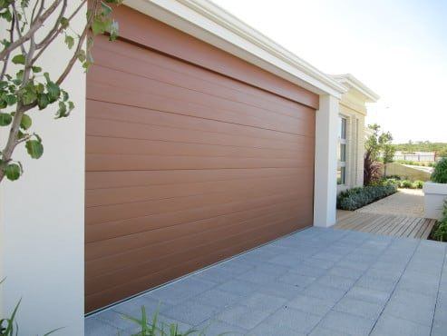 Sectional Garage Door Perth - wood look - profile ribline colour caoba