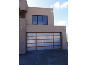 Custom sectional garage door brown frame