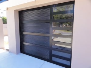 custom sectional garage doors with Louvre side and windows