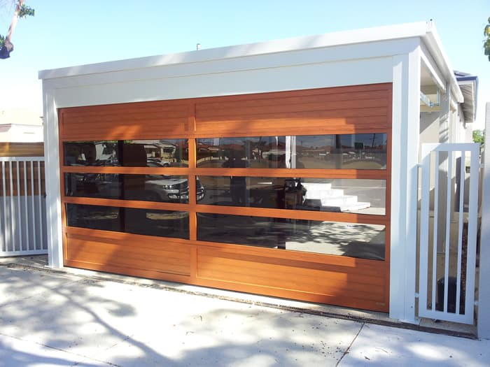 Custom designed Garage Door with windows in wood look