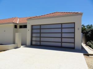 Custom sectional garage door grey frame