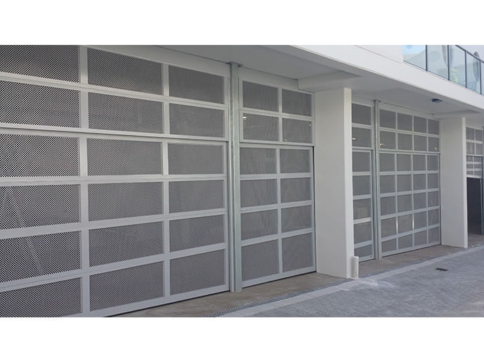 Custom Aluminum Garage Door Commercial CarPark Horizontal Mesh Inserts -Gryphon