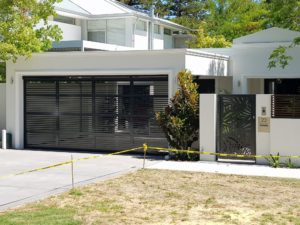 Gryphon custom garage Doors Perth - custom bar panel door in pearl onyx
