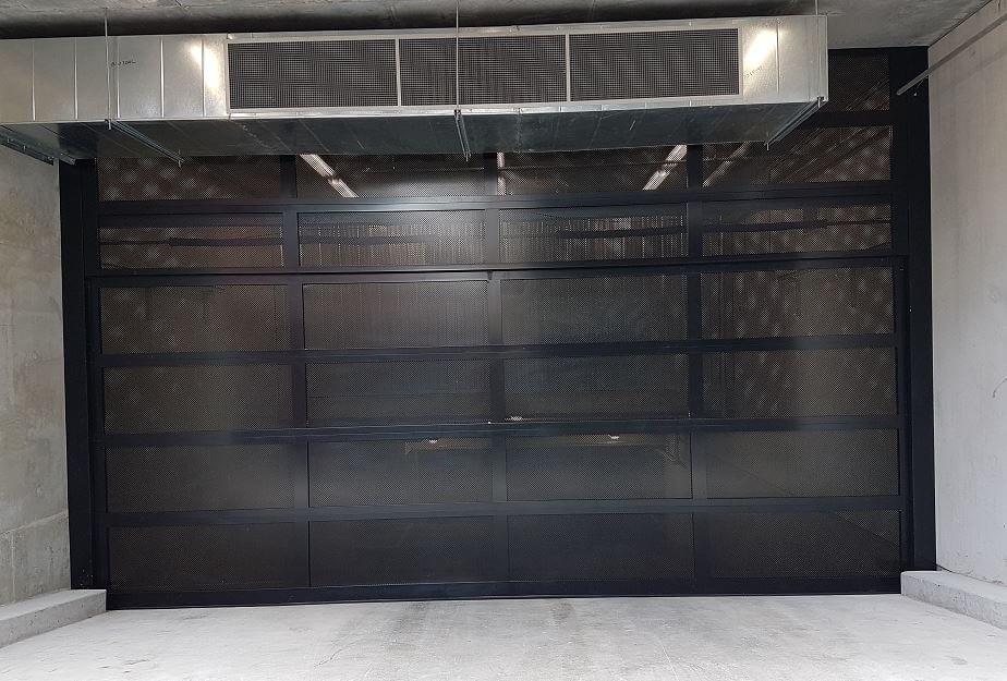 Black Custom Aluminum Perforated Garage Door