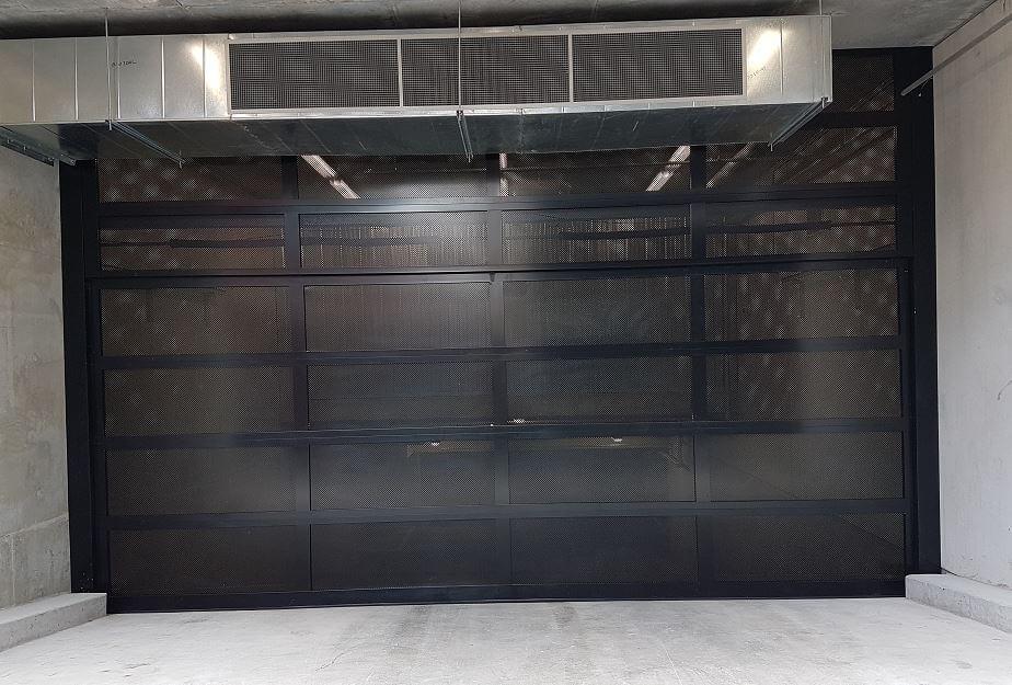 Black Custom Aluminum Perforated Garage Door