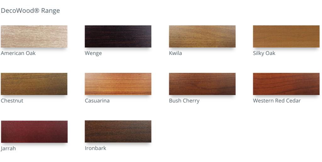 American Oak - Ironbark - Kwila Casuarina - Bush Cherry - Western Red Cedar Chestnut -Wenge -Jarrah - Decowood colour chart