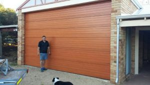 Custome sectional garage door with wood look