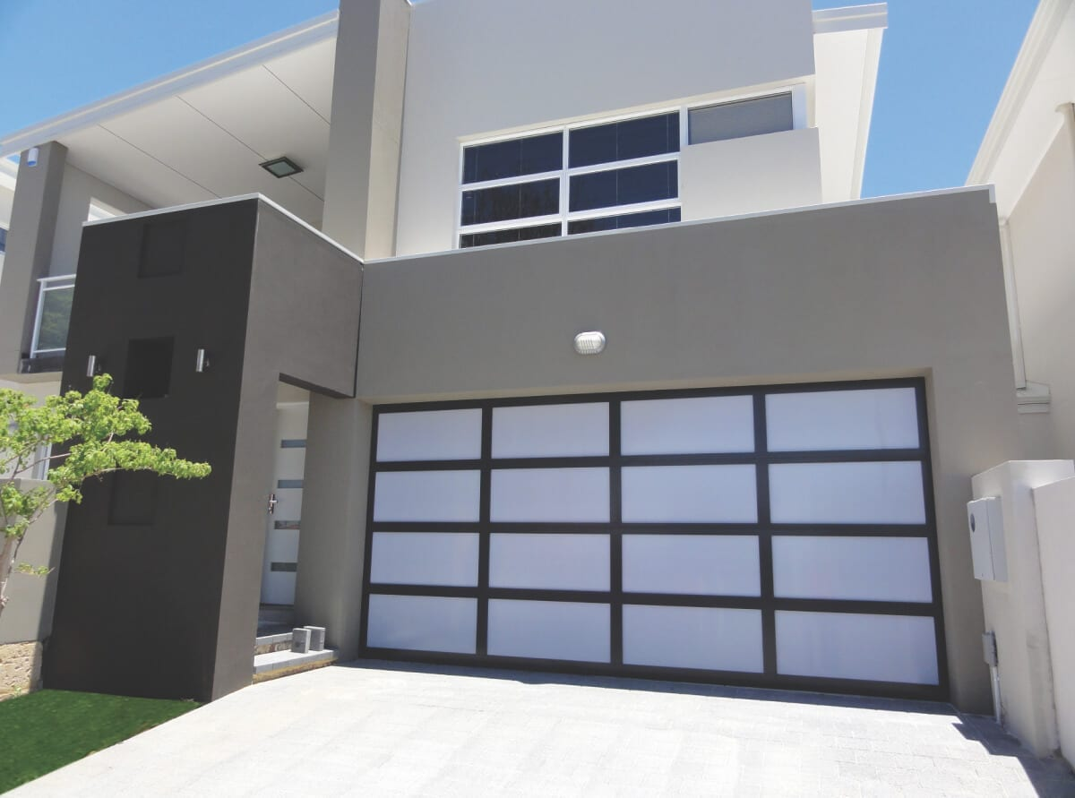 Custom garage door-white acrylic inserts-dark grey frames