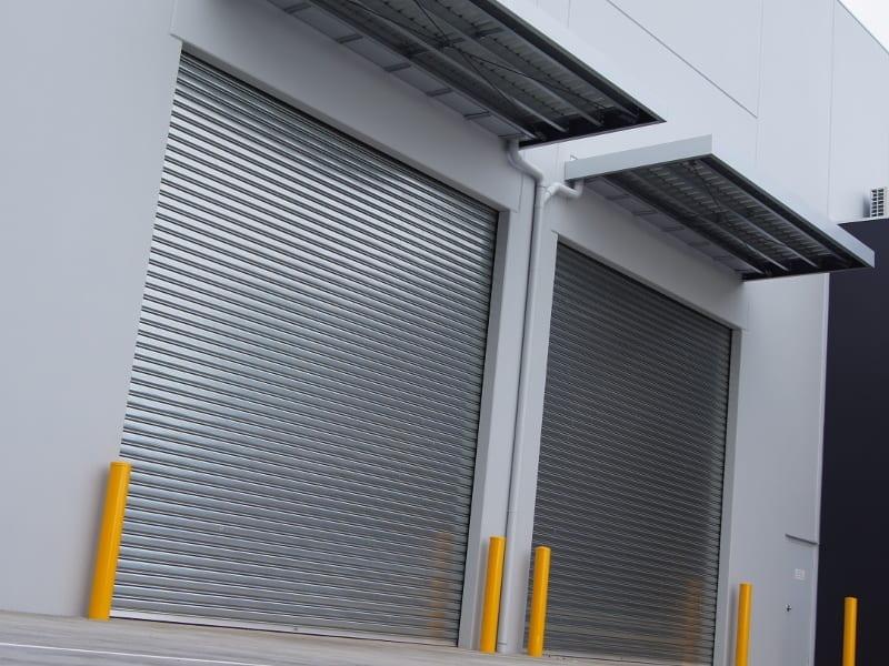 Commercial roller doors in grey